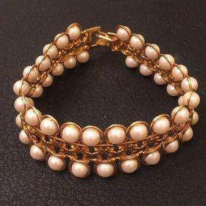 VTG Avon Gold & Pearl Victorian Revival Bracelet